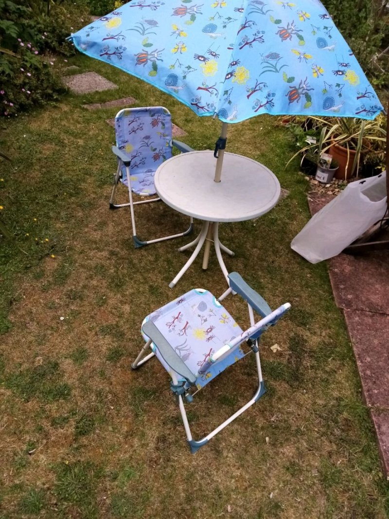 Children's Garden Chairs, table and umbrella with bean bag,