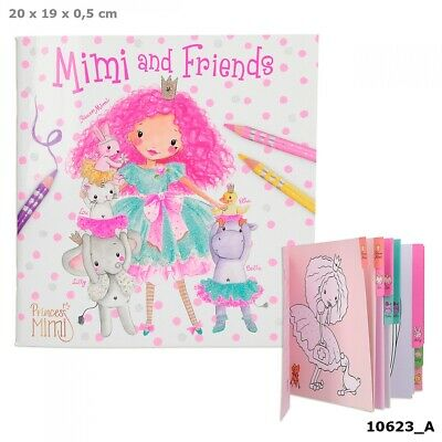 PRINCESS MIMI AND FRIENDS COLOURING BOOK CAT RABBIT BIRTHDAY