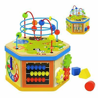 TOP BRIGHT Wooden Activity Cube Toy for 1 Year Old Boy and