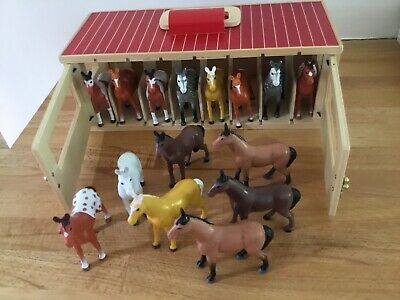 Melissa & Doug Take Along Wooden 8 Show Horse Stable Playset
