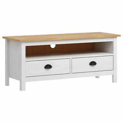 vidaXL Solid Pine Wood TV Cabinet White Wooden Entertainment