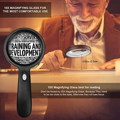 10x LED Illuminated Magnifying Glass, Suitable for the