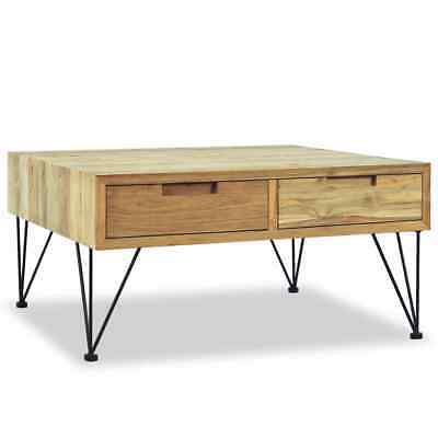 vidaXL Solid Teak Coffee Table 80x80x40cm with 2 Drawers