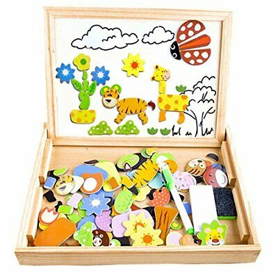 COOLJOY Wooden Kids Toy Magnetic Board Puzzle Games, Double