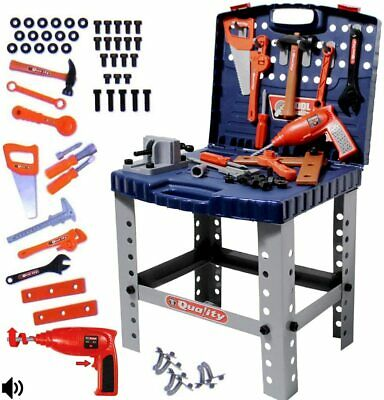 deAO WKS-B 2-in-1 Workshop and Tools Carrycase Play Set with