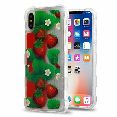 For Apple iPhone X/XS Red Green Strawberry Oil Aqualava Hard