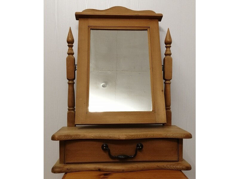 Pine Dressing Table Mirror with Drawer