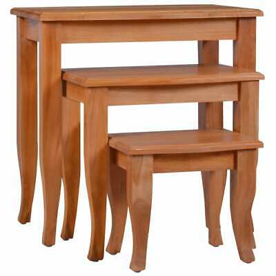 vidaXL 3x Solid Mahogany Wood Side Tables Bedside End