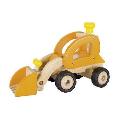 Goki  Wooden Car Wheel Loader Orange New Wood! #