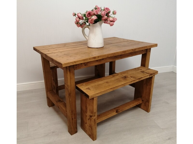 "3ft11"" Rustic Pine Dining Table & Two Benches"