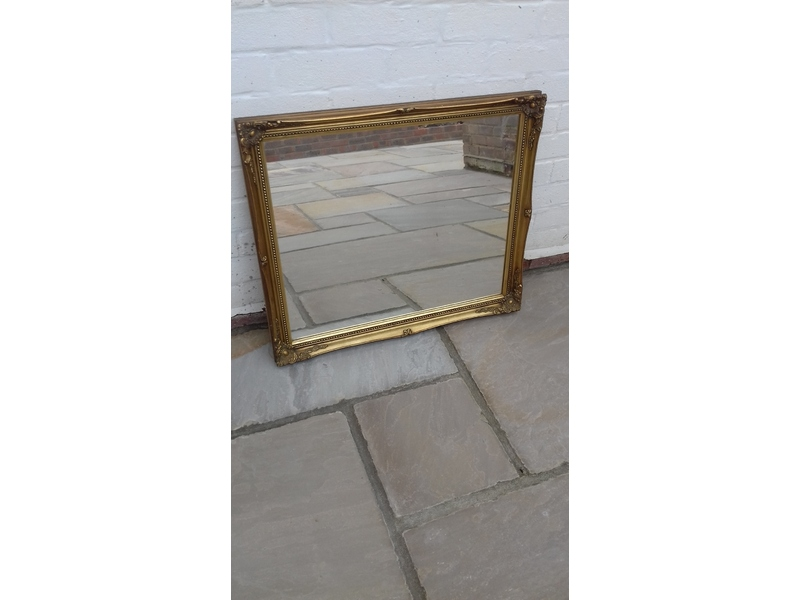 Large mirror 27 inches x 23 inches gold coloured wood