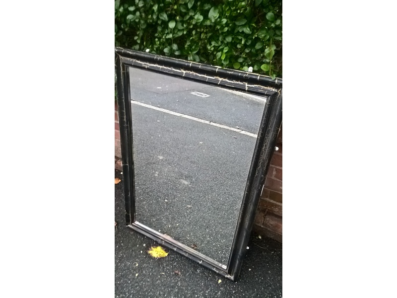 Large black gold framed wall mirror