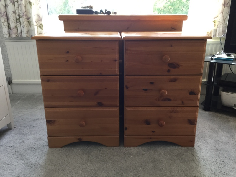 Set of Pine/Pine Effect Bedroom Furniture
