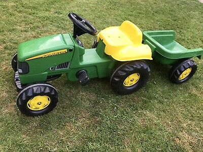 John Deere Childrens Pedal Tractor With Trailer Kids Ride On