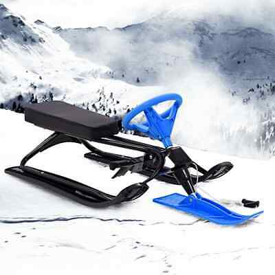 vidaXL Snow Sledge Bob Black and Blue Adjustable Ski Scooter