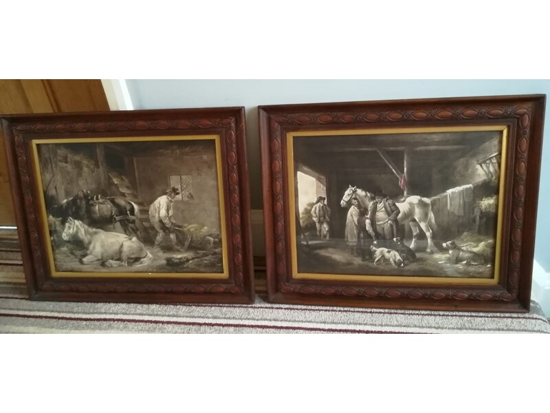 A pair of vintage / old picture frames with George Morland