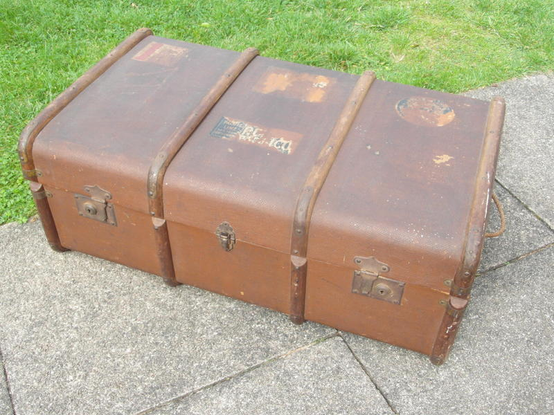 Vintage steamship trunk. £50. Curved top with bands. 's