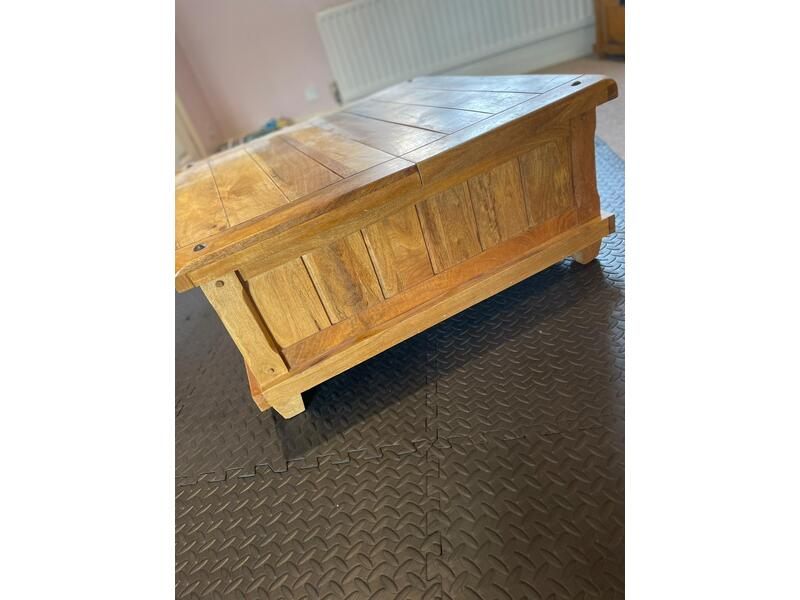Solid oak square coffee table with useful storage