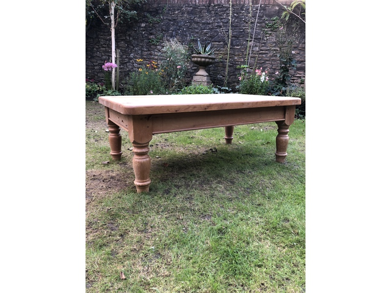 Large solid wooden pine coffee table