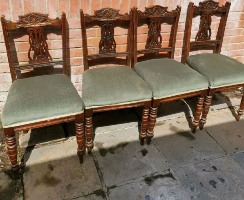 Four Edwardian/ Georgian carved back antique chairs