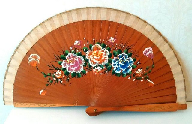 Spanish wood and fabric hand painted folding hand fan