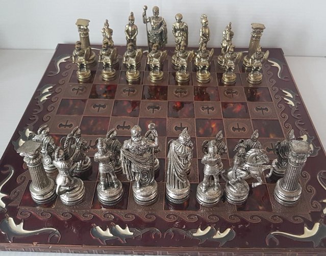 GREEK ROMAN CHESS SET WITH DOLPHIN CHERRY COLOUR BOARD