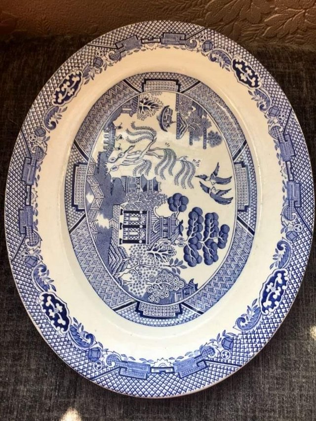 Oval Vintage Barratts Of Staffordshire Willow Pattern Servin