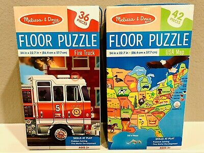 Melissa & Doug Large Floor Puzzle Set Of 2 USA Map And Fire