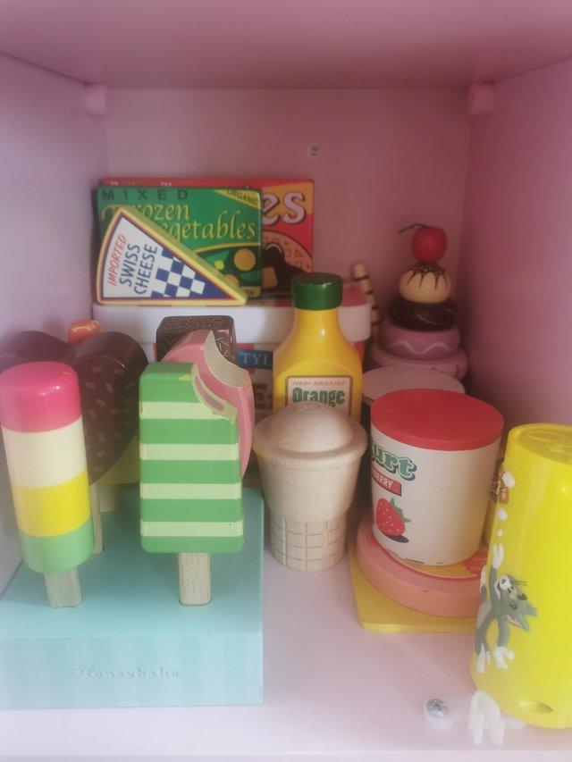 Pink KidKraft Wooden Play Kitchen with Food & Accessories