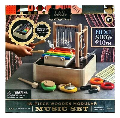 Toy Wood Musical Instruments 8 In 1 Modular Music Center