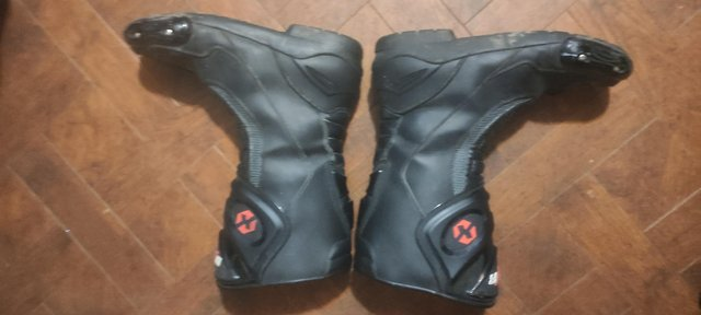Motorcycle gear. Boots, coat and pants, racing leathers..